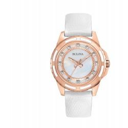 Relógio Feminino Bulova Diamond Collection Diamond Collection de aço inoxidável de ouro rosa e ouro