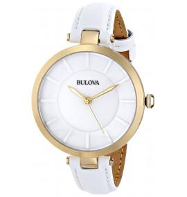 Relógio Feminino Bulova 97L140 de aço inoxidável com faixa de couro