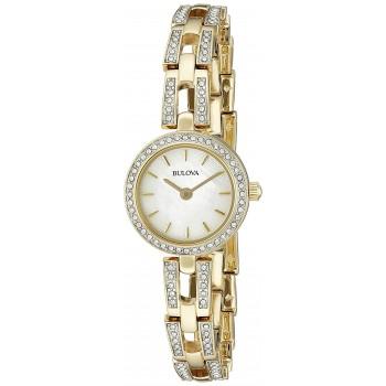 Relógio Feminino Bulova 98L213 Crystal Display Analógico Quartz Ouro