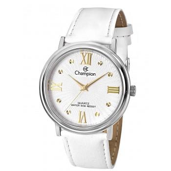 Relógio Feminino Champion White Leather Strap