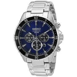 Relógio Masculino Seiko Chronograph Silvertone Azul