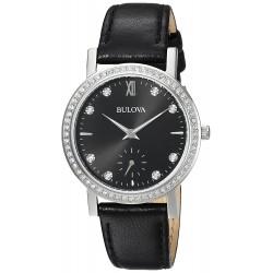 Relógio Feminino Bulova 32mm Crystal Preto de Couro