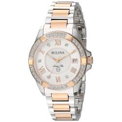 Relógio Feminino Bulova de pulseira de aço inoxidável e diamante de dois tons marinho de 32mm