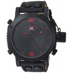 U.S. Polo Assn. Classic Masculino Watch with Black Leather Band