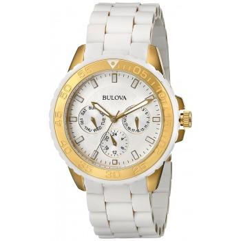 Relógio Feminino Bulova 98N102 pulseira de aço inoxidável em borracha branca