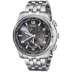 88eae0587a4 Relógio Masculino Citizen Eco Drive Silvertone And Black World Time A-T  Watch