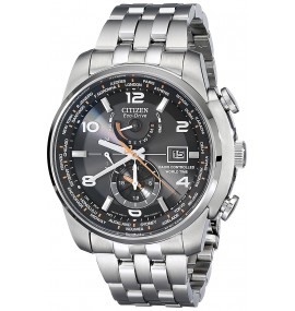 Relógio Masculino Citizen Eco Drive Silvertone And Black World Time A-T Watch