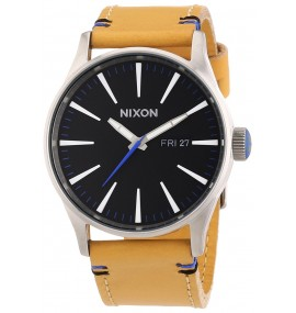 Relógio Masculino Nixon Preto Sentry Dial Tan Leather A1051602