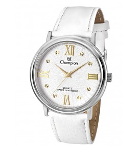 Relógio Feminino Champion White Leather Strap