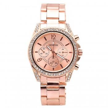 Relógio feminino Top Plaza ouro rosé