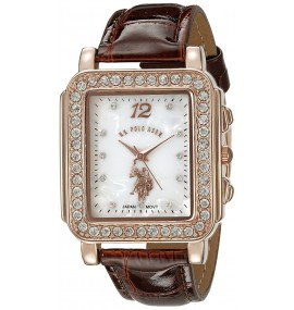 U.S. Polo Assn. Feminino Analog Display Japanese Quartz Brown Watch