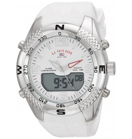 U.S. Polo Assn. Masculino Quartz Metal and Rubber Casual Watch White